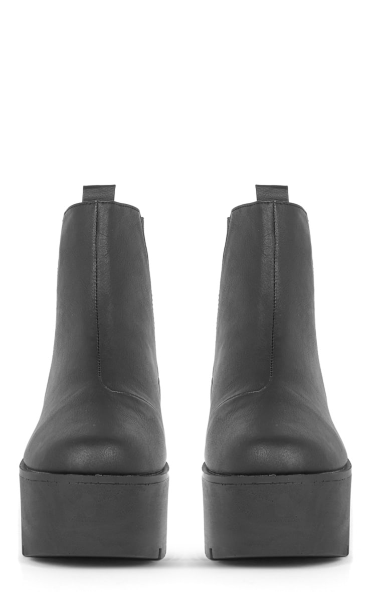 Kasey Black Leather Wedged Boot  2