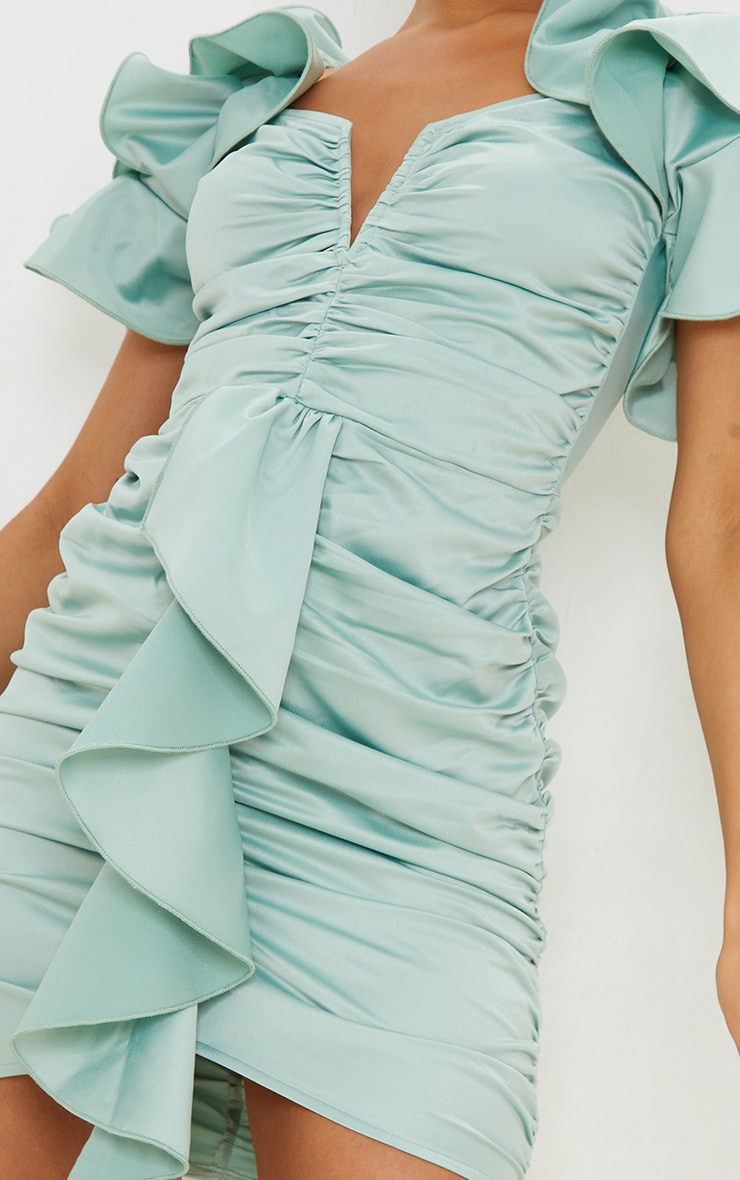 Sage Green Frill Sleeve V Bar Bodycon Dress 4