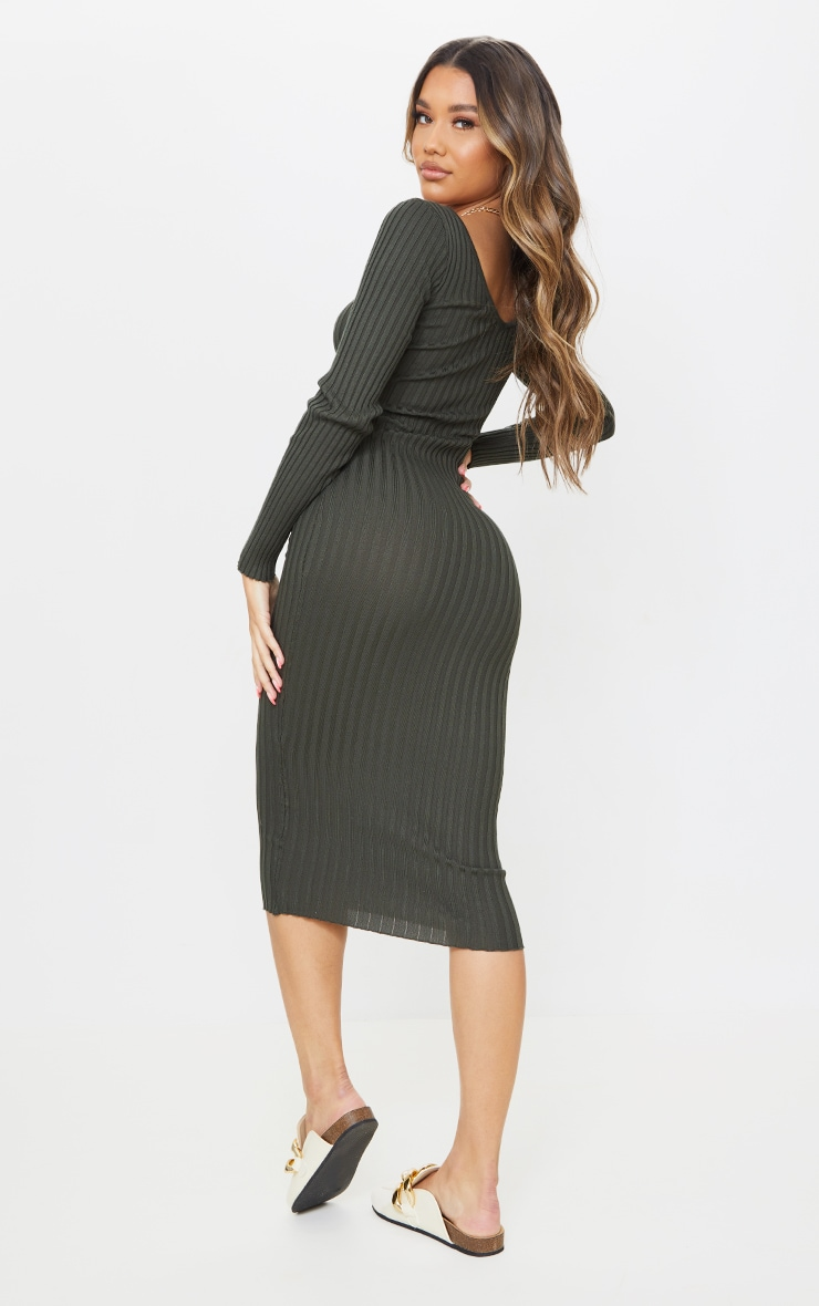 Khaki Off Shoulder Rib Knitted Midaxi Dress 3
