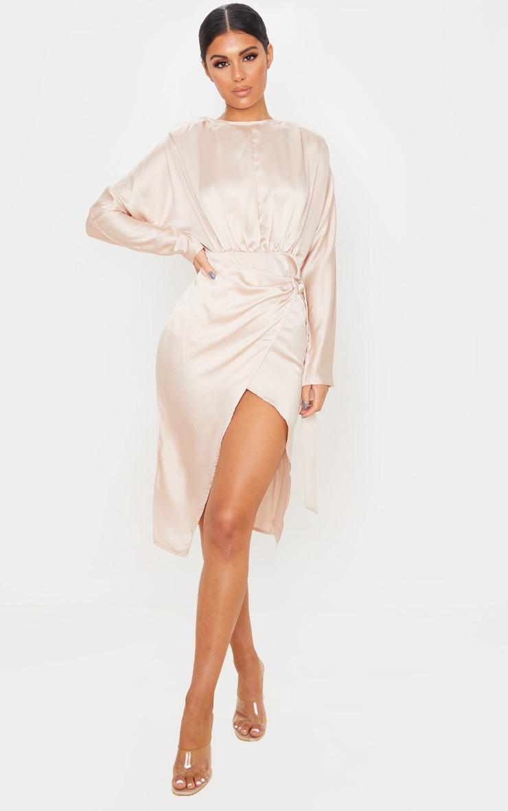 Champagne Satin Wrap Skirt Backless Midi Dress 1