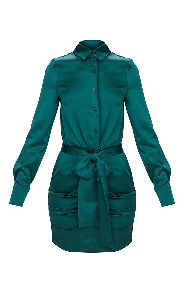 Emerald Green Ruched Front Shirt Dress 3