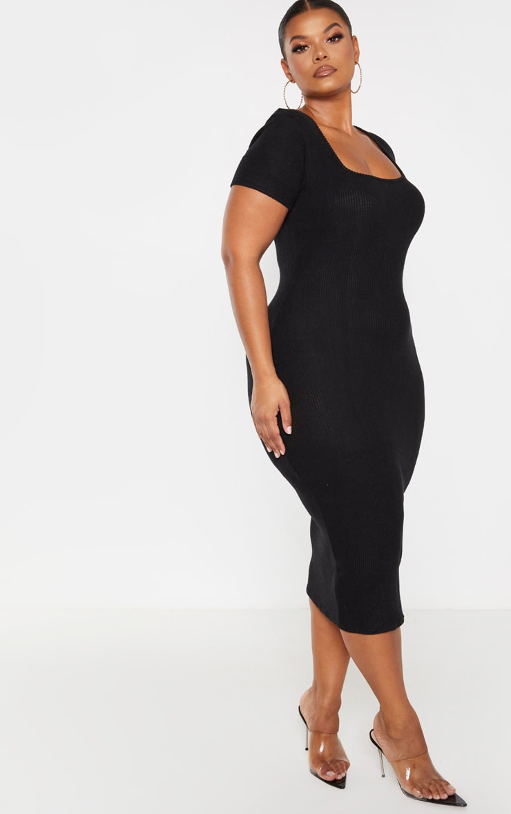 Plus Black Brushed Rib Square Neck Midi Dress 4
