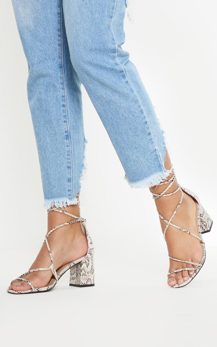 Snake Block Heel Sandal 1