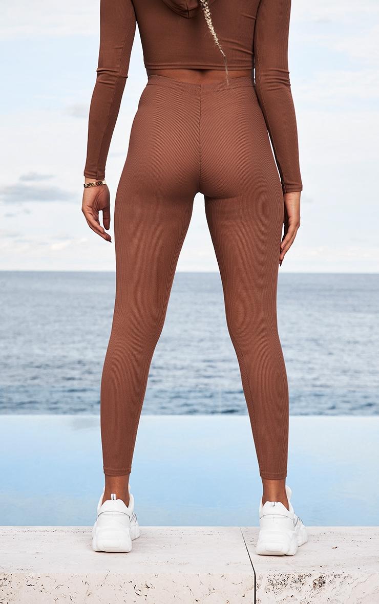 Chocolate Brown Rib High Waist Leggings 3