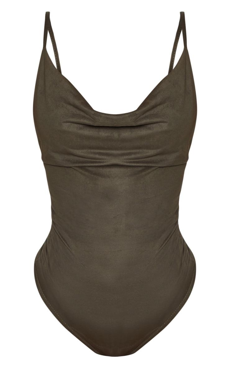 Shape Khaki Faux Suede Cowl Neck Bodysuit 3