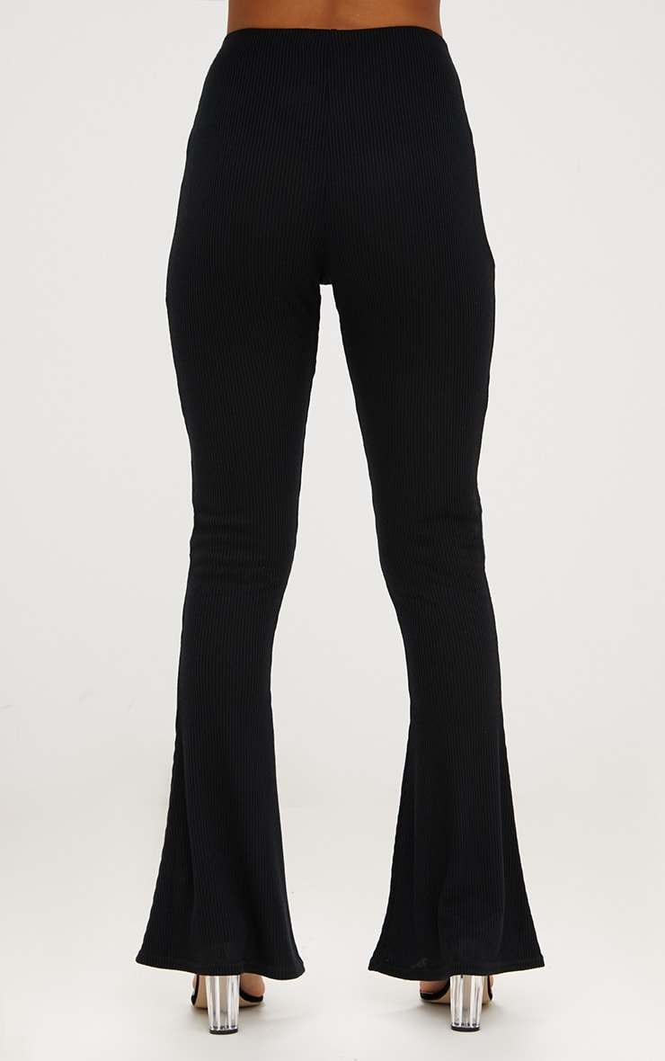 Black Ribbed Flared Pants 4