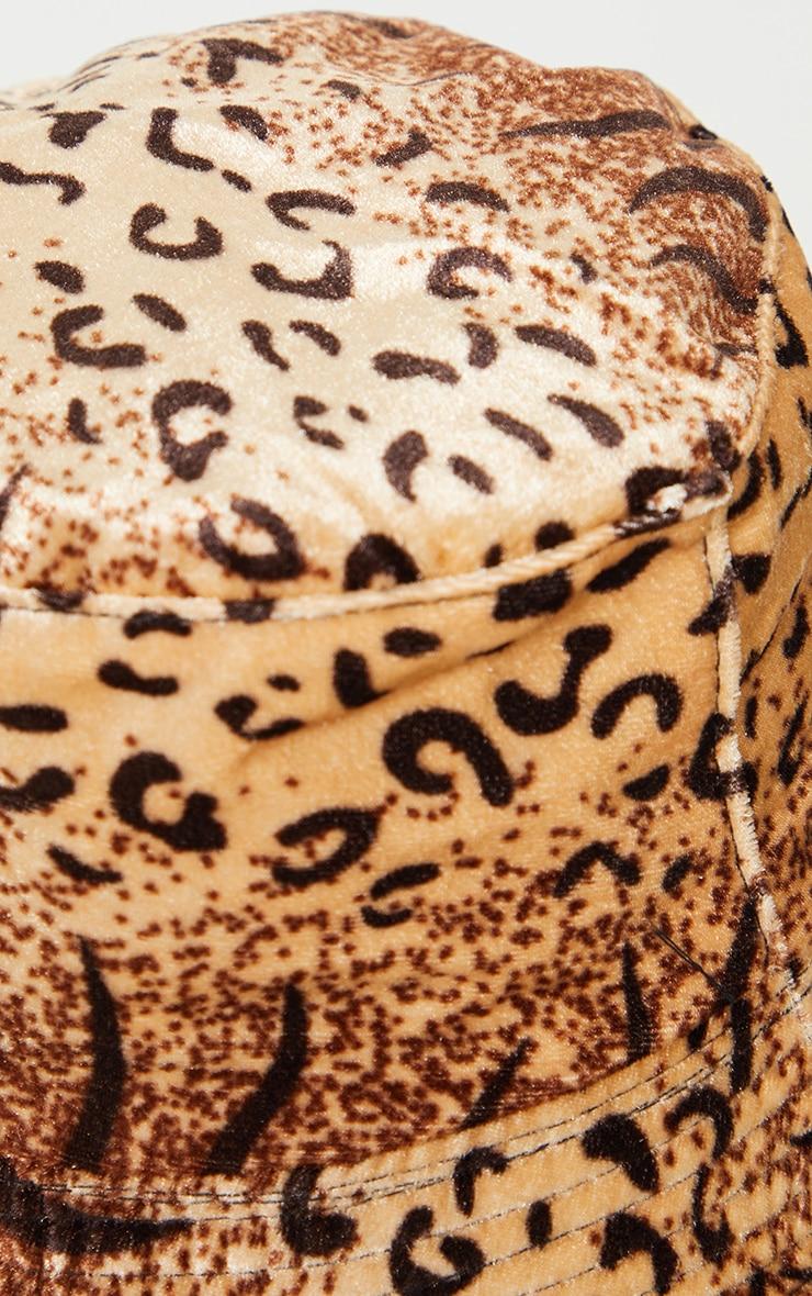 Brown Leopard Velvet Bucket Hat 3