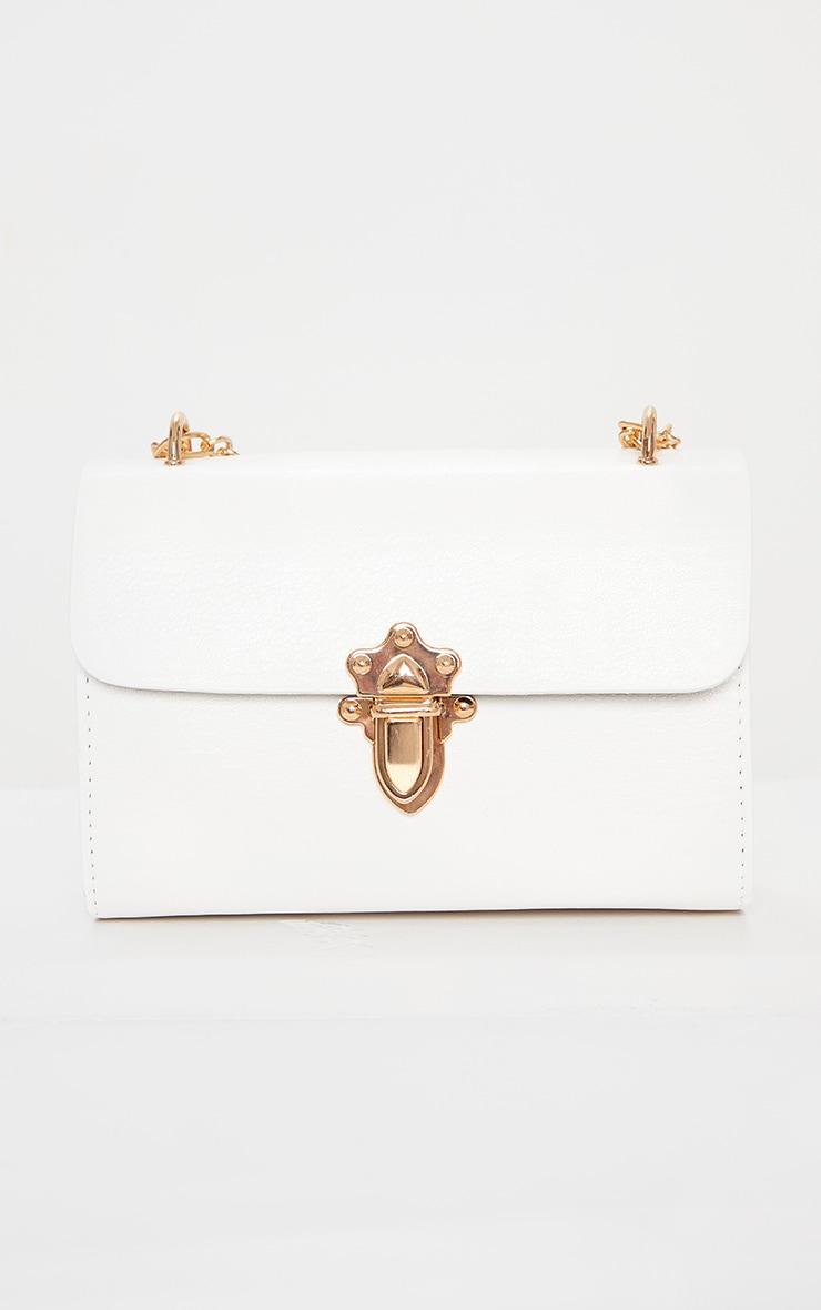 White PU Gold Buckle Detail Cross Body Bag 3