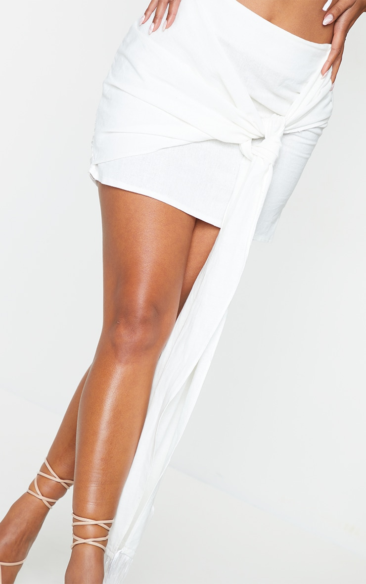 White Linen Feel Ruched Bum Extreme Tie Detail Mini Skirt 5