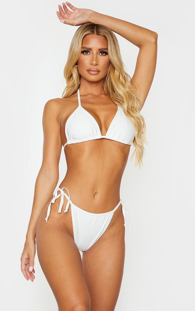 White Mix & Match Recycled Fabric Triangle Bikini Top