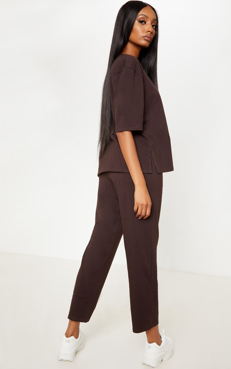 Chocolate Jersey Crew Neck Boxy T Shirt & Trouser Set 2