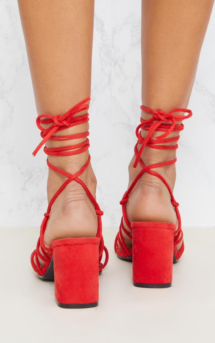 Red Block Heel Leg Tie Sandal 4