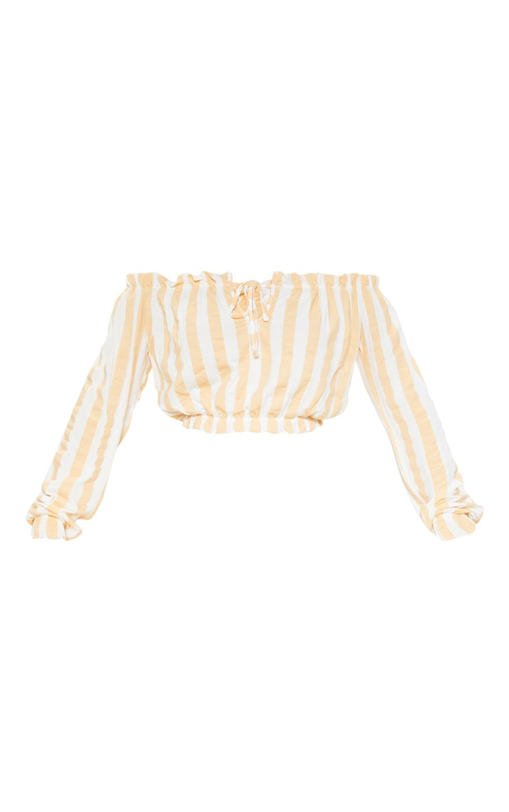 Nude Stripe Printed Bardot Long Sleeve Crop Top 3