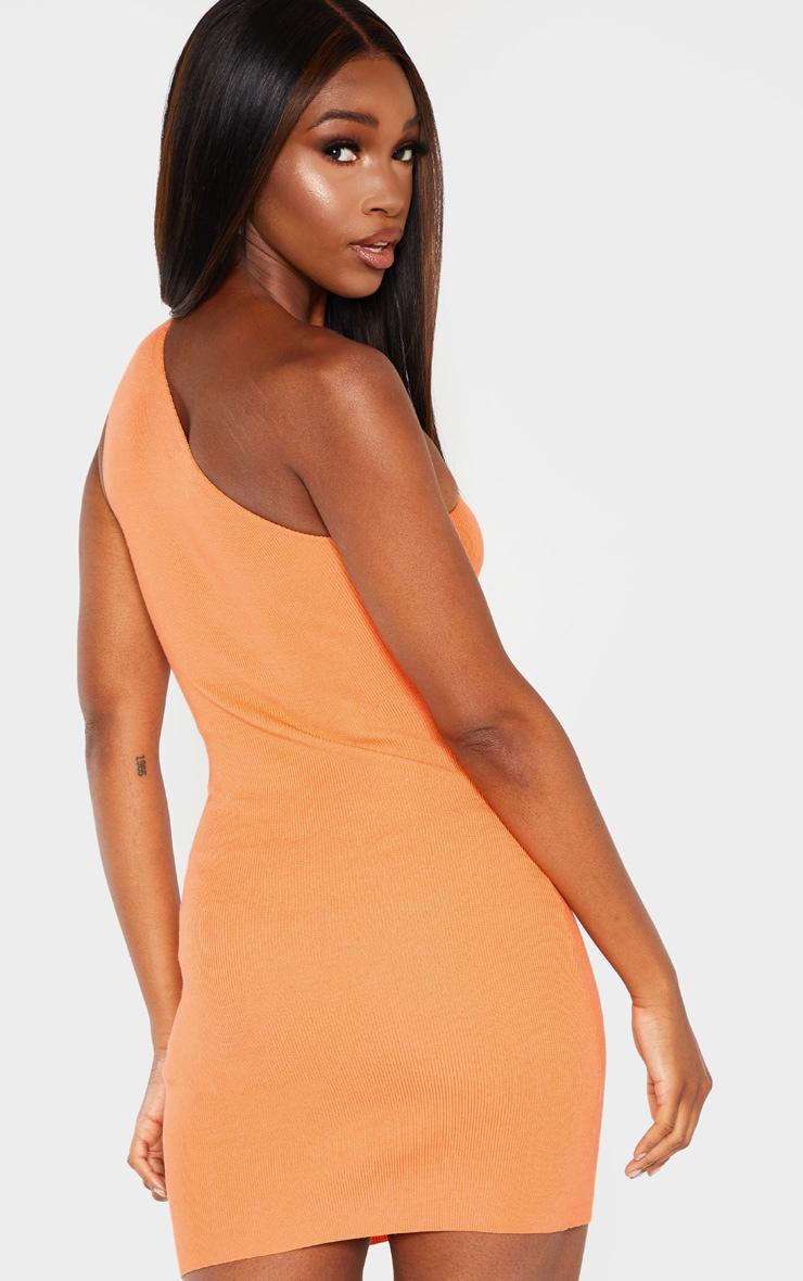 Orange Asymmetric Ring Detail Knitted Dress 2