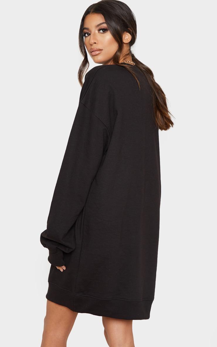 PRETTYLITTLETHING Black Exclusive Slogan Sweater Dress 2