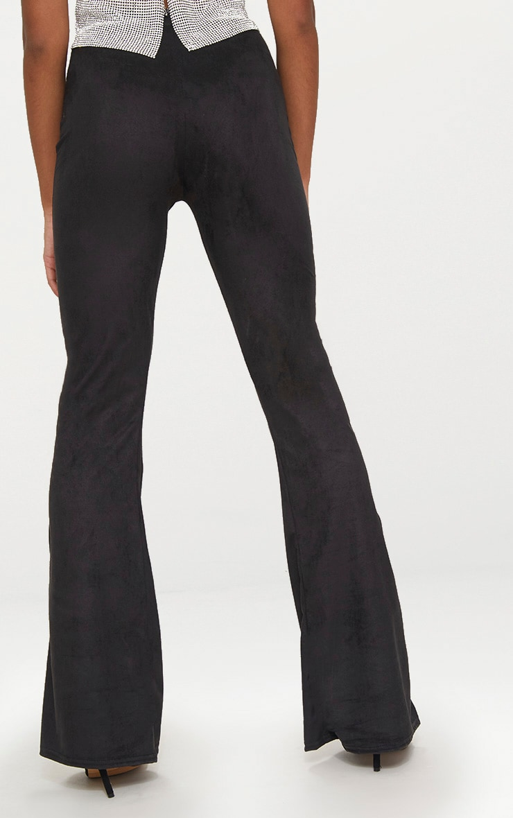 Petite Black Suedette Flared Trousers 4