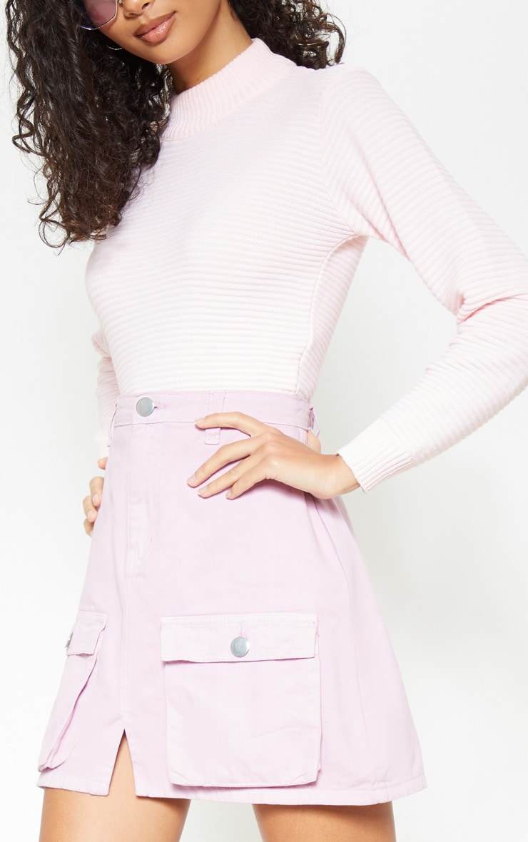 Lilac Neon Pocket Detail Denim Skirt  6