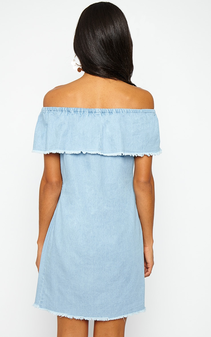 Eunice Blue Denim Bardot Dress 2