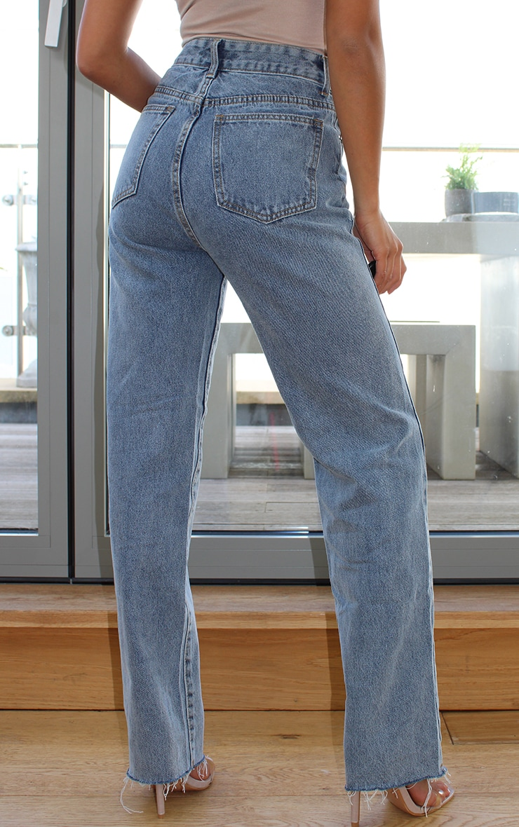 PRETTYLITTLETHING Petite Vintage Wash Long Leg Straight Jeans 3