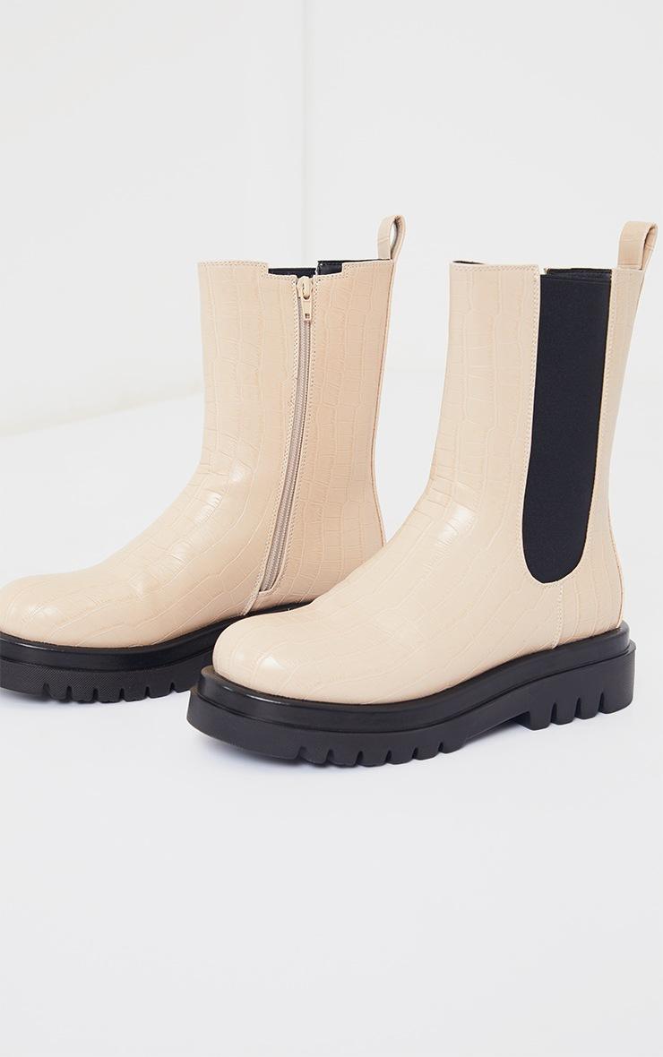 Cream Croc Pu Calf High Chelsea Boots 4