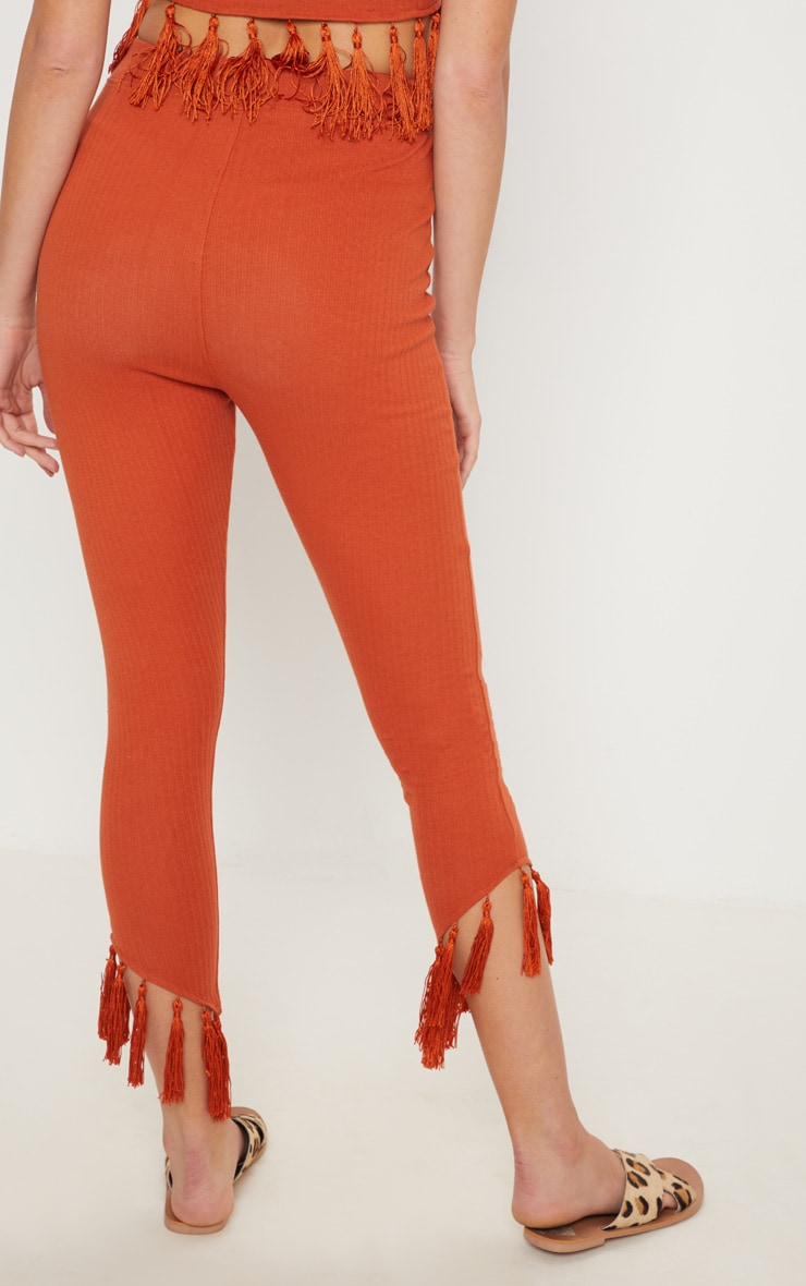 Rust Rib Tassel Trim Legging 4