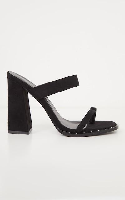 Black Toe Loop Mule Block Heel Stud Detail Sandal