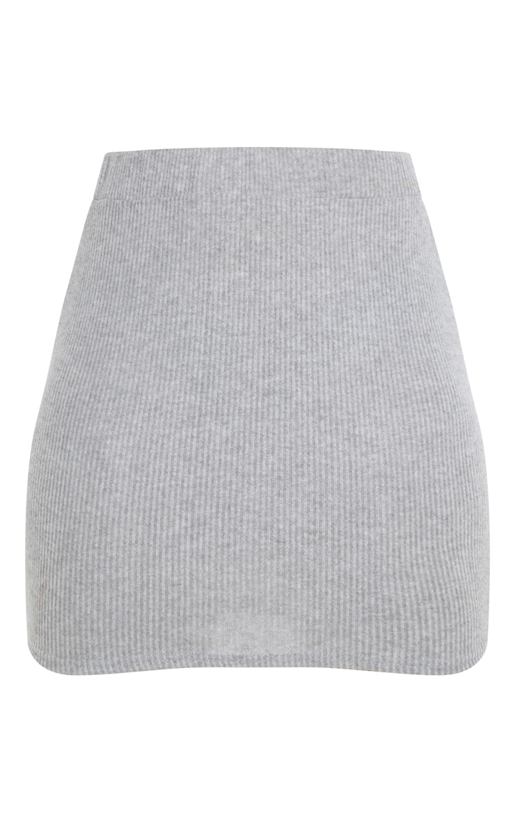 Petite Grey Brushed Rib Mini Skirt  3