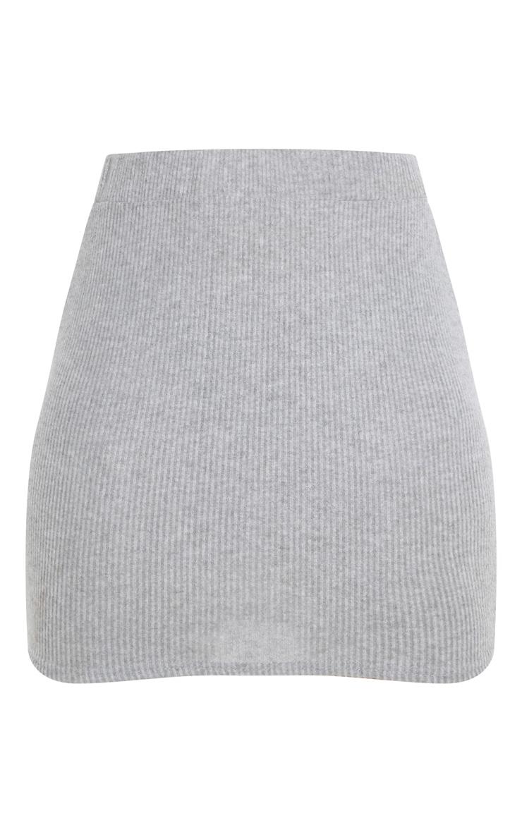 Petite Grey Brushed Rib Mini Skirt 3
