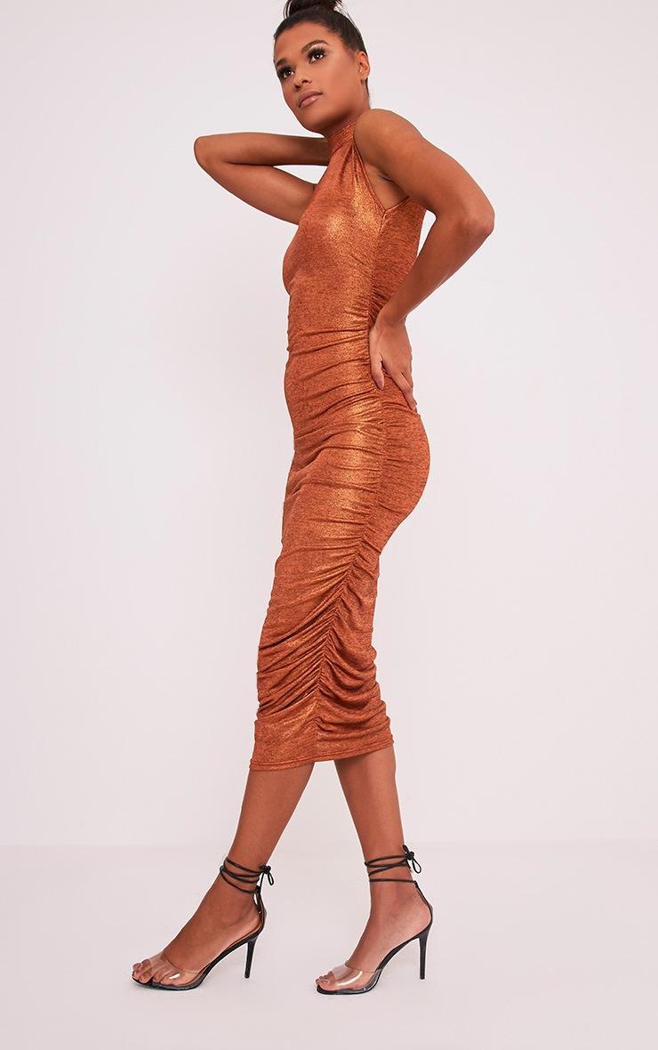 Alexia Copper Metallic High Neck Midi Dress 4
