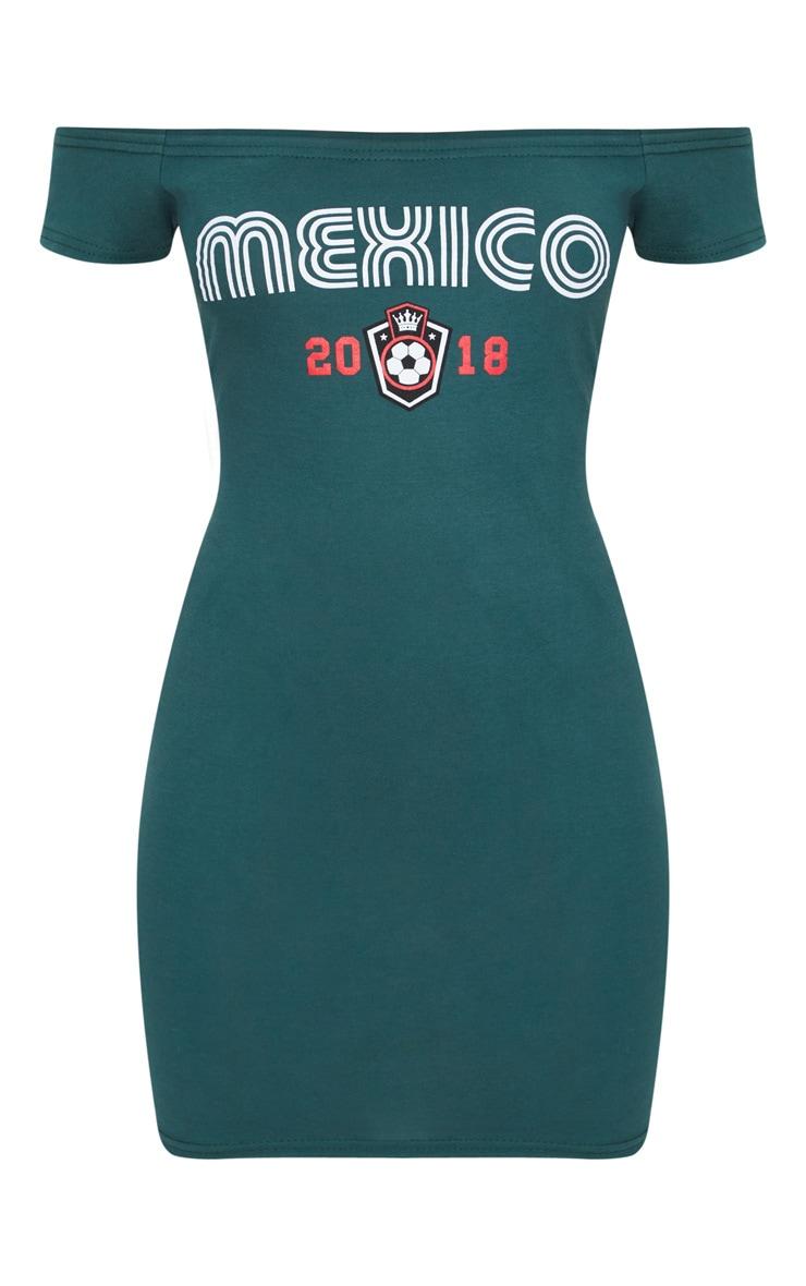 Green Mexico Football Bardot Short Sleeve Bodycon Dress 3