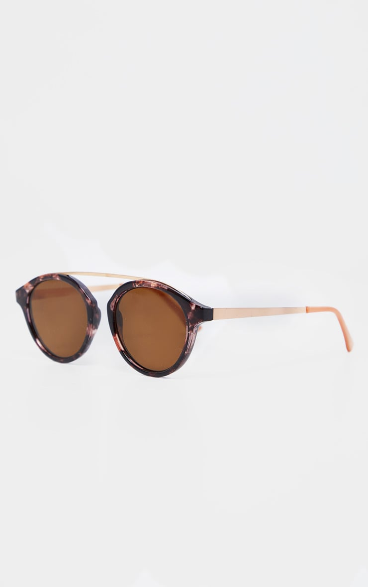 Peach Marble Effect Rose Gold Brow Bar Round Sunglasses           3