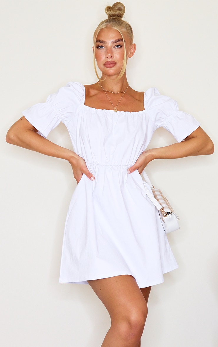 White Square Neck Puff Sleeve Shift Dress 1