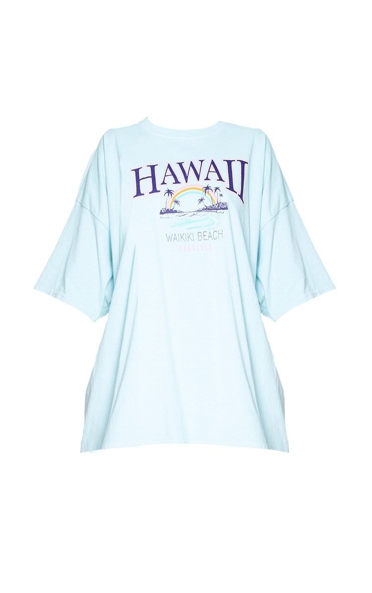 Mint Hawaii Beach Print Washed T Shirt 5