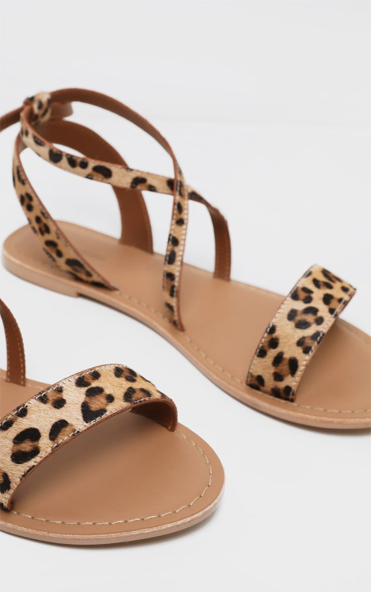 Leopard Basic Leather Sandal 3