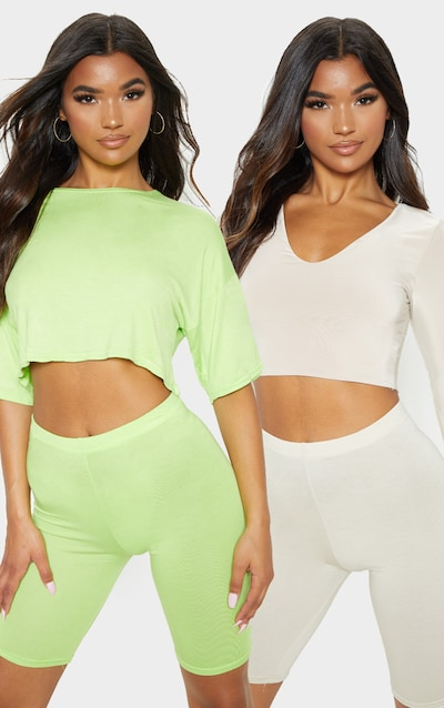 4af5f0ec3fe39e Neon Lime & Stone Basic Cycle Short 2 Pack PrettyLittleThing Sticker