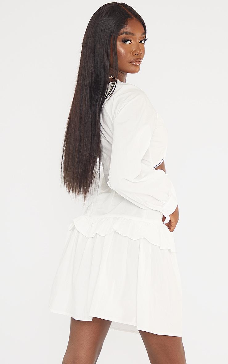 Tall White Cut Out Frill Detail Poplin Dress 2