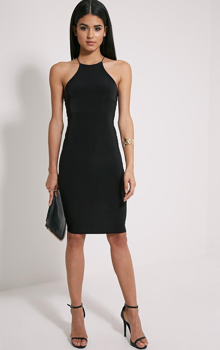 Mirabella robe midi noire près du corps bretelles croisées au dos 3