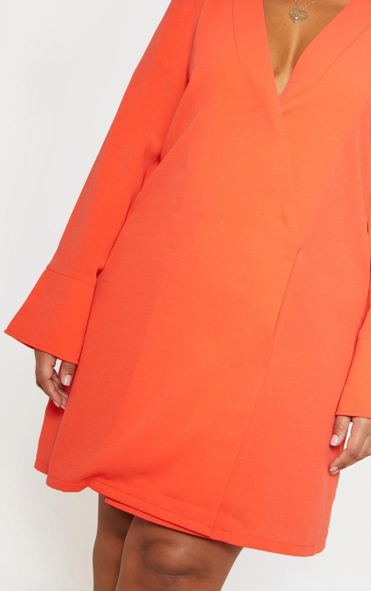 Plus Orange Plunge Flare Sleeve Blazer Dress 5