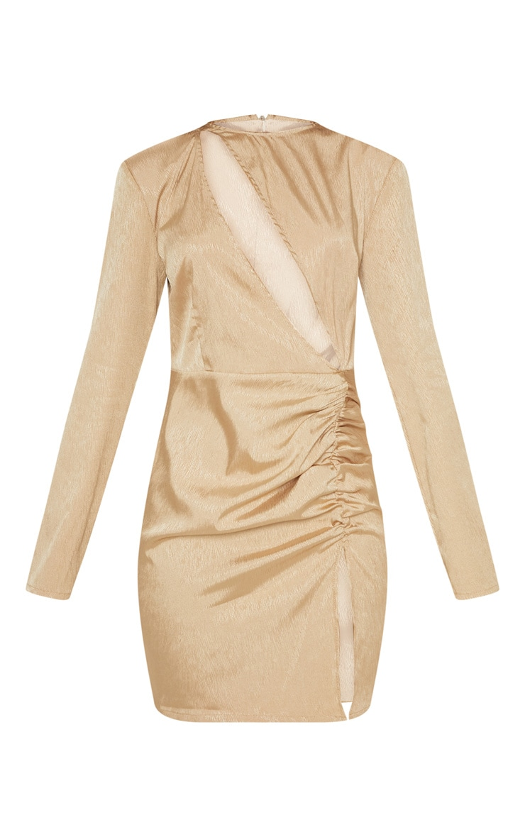 Champagne Satin Extreme Plunge Ruched Bodycon Dress 3
