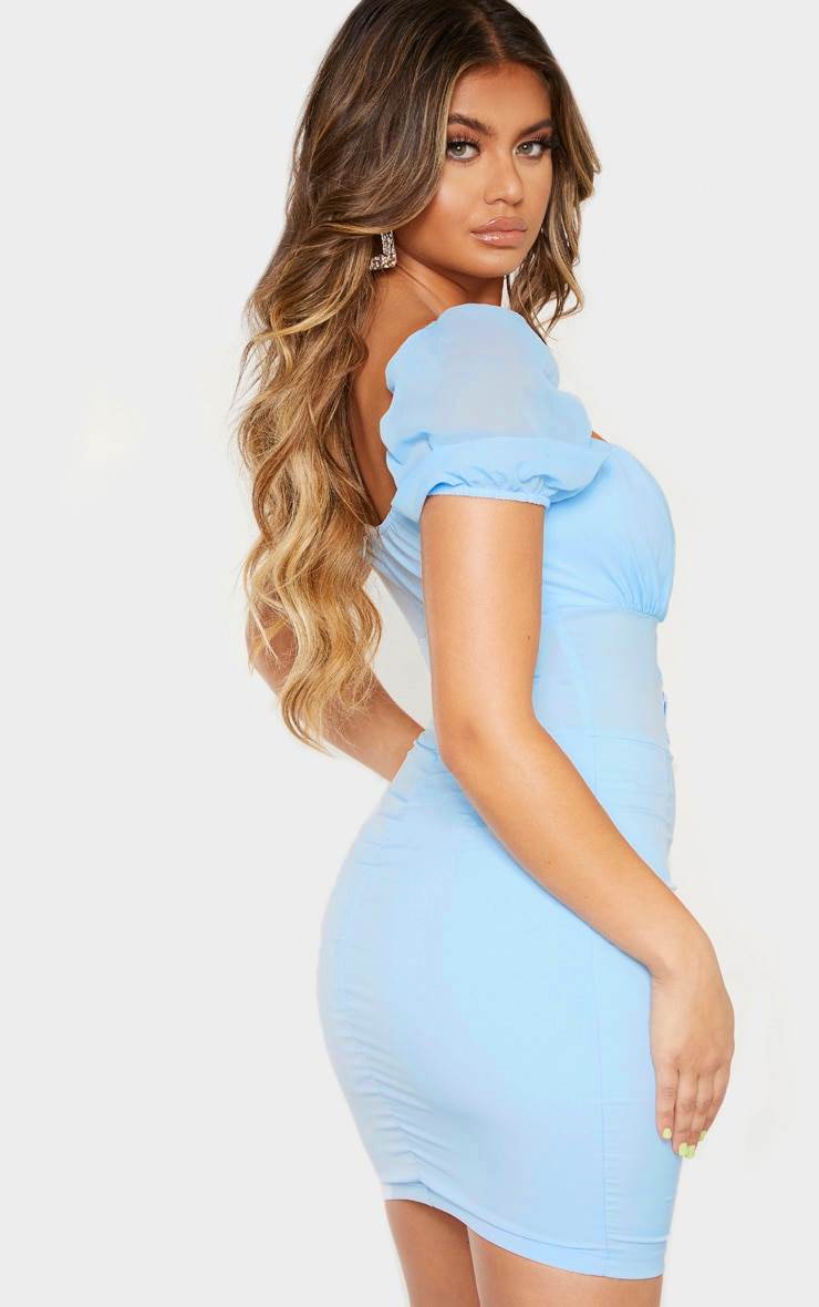 Baby Blue Puff Sleeve Ruched Eyelet Bodycon Dress