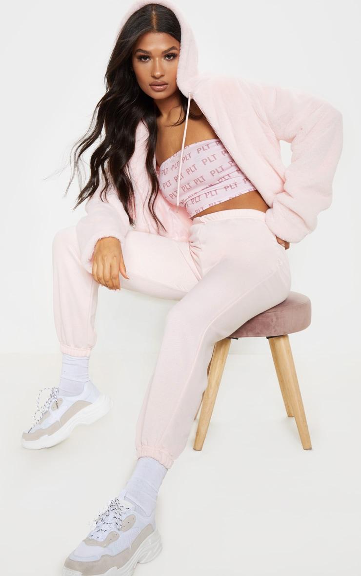 Baby Pink Basic Cuffed Hem Jogger 1