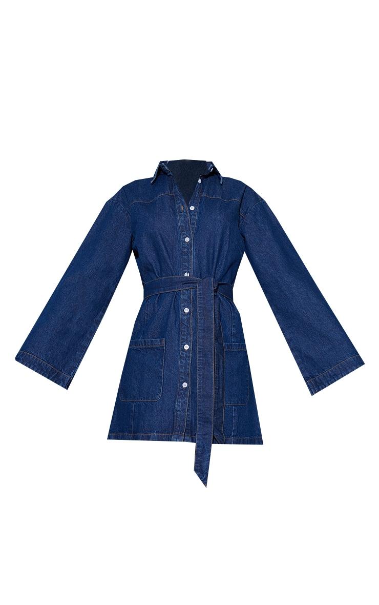 Robe en jean bleu moyennement délavée à manches cloches 5