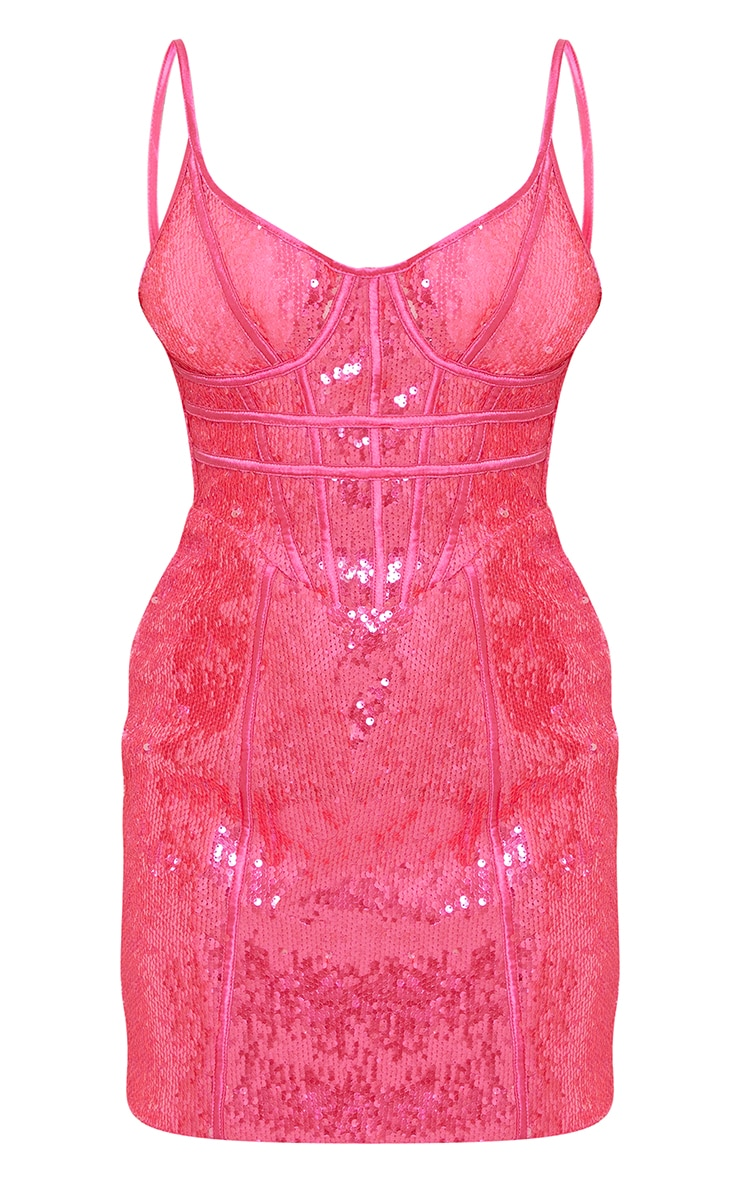 Petite Pink Corset Detail Strappy Sequin Mini Dress 5