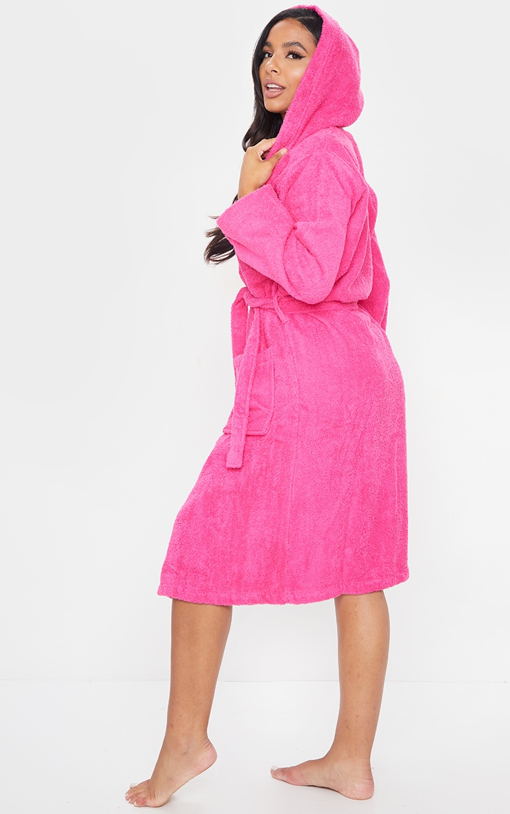 Hot Pink Towelled Hooded Dressing Gown 2
