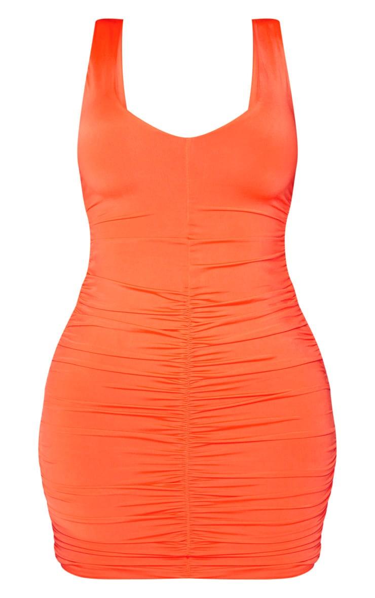 Shape Neon Orange Plunge Ruched Skirt Bodycon Dress 3