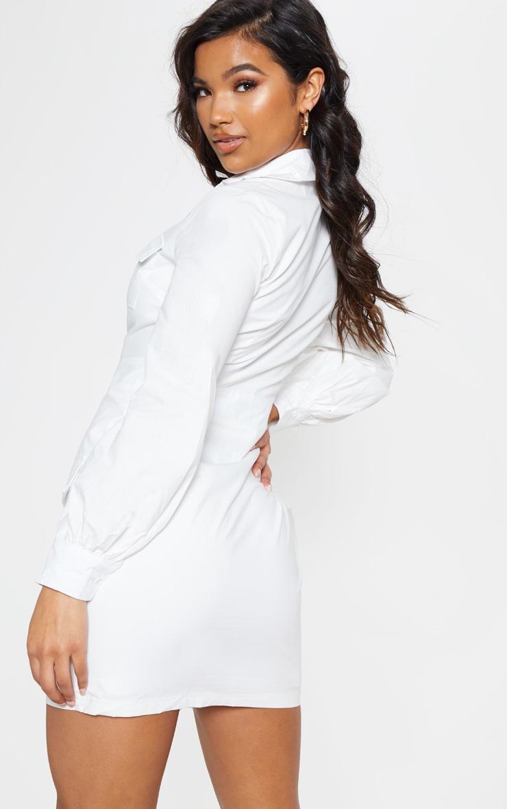 White Utility Pocket Detail Bodycon Dress 3