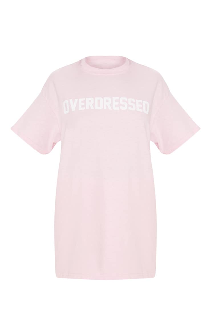 Baby Pink Overdressed Slogan Oversized T Shirt 3