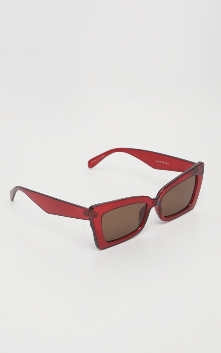 Red Oversized Angular Square Sunglasses 3