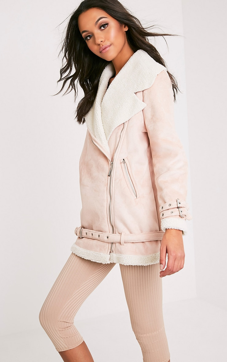 Simmi Blush Faux Suede Oversized Aviator Jacket 4