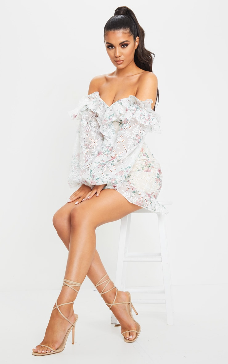 WHITE EMBROIDERED LACE BARDOT FRILL BODYCON DRESS